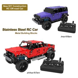 Building Block Rc NZ - DIY Stainless Steel Remote Control Vehicle 2.4G 4 Channels RC Pickup Jeep Off-road Car Metal Building Blocks Educational Toy