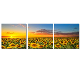 Sunflower Pictures Australia - Canvas Wall Art Painting Beautiful Yellow Sunflowers Colourful Sky Background Sunset Modern Artwork for Living Room Decor
