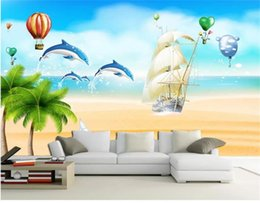 Discount dolphin stickers - custom size 3d photo wallpaper living room bed room mural cartoon sea dolphin sailing picture sofa TV backdrop wallpaper