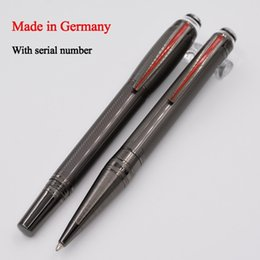 $enCountryForm.capitalKeyWord Australia - Luxury MB Pen Grey Precious Resin PVD-plated Fittings Roller Ball Pen   Ballpoint Pen School Office Stationery Brand Writing Ball Pens Gift