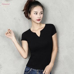 black v neck t shirts women Australia - Cotton Women T Shirt V Neck Short Sleeve Women Shirt All Match Lady Top Black White Gray Yellow Shir