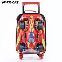 $enCountryForm.capitalKeyWord NZ - Cartoon 3D Kids Children School Trolley Bag Cool Car Bags Boys Bookbag School Trolley Bag for Teens Boys Student