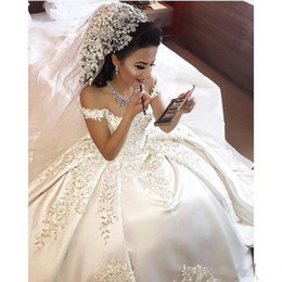 $enCountryForm.capitalKeyWord Australia - New Arabic Dubai Off-Shoulder Ball Gown Wedding Dresses Lace Appliques Capped Sleeves Plus Size Bridal Gowns Custom Made