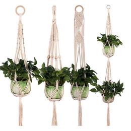 $enCountryForm.capitalKeyWord Australia - Flower pot hanging basket Plant Hanger Hook Flower Pot Handmade Knitting Natural Fine Cordage Planter Holder Basket Balcony Decoration 5PCS