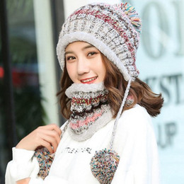 snowboard hats Australia - Fashion Knitted Hat Scarf Set Women Winter Warm Thicken Crochet Bobble Pom Pom Beanie Hat Cap Outdoor Ski Snowboard Cycle