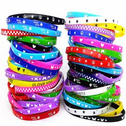 Silicone Bracelet Child Australia - 100pcs Kids Silicone Bracelet Wristband Children Boy Girl Assorted Colors Love Bangle Family Party Gift Mix Styles Wholesale