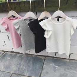 Children White Tees Australia - 1-6 Yrs Baby Girl T-shirt Toddler Girls Ruffle Tee Shirts For Children Girl Blouse Cotton T Shirt Kids Summer Bowknot Clothes Y19051003