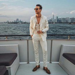 $enCountryForm.capitalKeyWord NZ - Summer Ivory Linen Men Suits for Wedding Prom Blazer Latest Coat Pant Designs Groom Tuxedos Costume Homme 2Piece Slim Fit Terno Masculino
