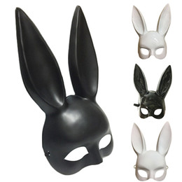 Costumes For Masquerade UK - Rabbit mask fashion easter masquerade mask bunny rabbit face mask height long 36cm for birthday party easter halloween costume