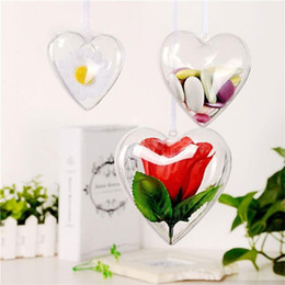 clear balls Australia - 65mm 80mm 100mm Clear Plastic Ornaments Balls Heart Shaped Christmas Tree Ball Fillable Baubles for Christmas Wedding Decorations