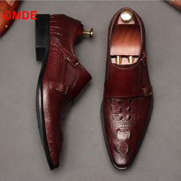 double monk shoes 2019 - OMDE Double Monk Strap Alligator Pattern Dress Shoes Men Slip On Office Shoes Pointed Toe Formal Mens Wedding Shoe disco