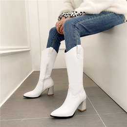 $enCountryForm.capitalKeyWord Australia - YMECHIC 2019 New Arrival Mid Calf High Hoof Heel Women Winter Boots Pointed Toe Long Botas Black White Womens Shoes Pointed Toe