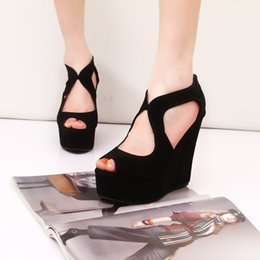 $enCountryForm.capitalKeyWord Australia - Current2019 Slope Nightclub High With Peep-toe Flange Waterproof Platform Bandage Black Women's Singles Shoe Sandals