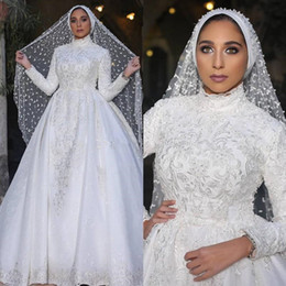 muslim wedding bridal train pictures NZ - Classy Overskirt Lace Muslim Wedding Dresses Pearls High Neck Appliqued Long Sleeves Bridal Gowns A Line Sweep Train Vestido De Novia