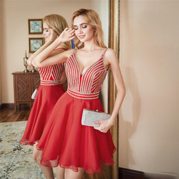 Gold Charm Sexy Girl Australia - 2019 Sexy Spaghetti Straps Beadings Girls Homecoming Dresses Mini Chiffon Girls Cocktail Dresses Charming Plunging Back Prom Party Dresses
