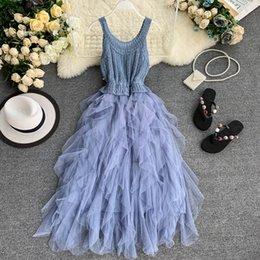 $enCountryForm.capitalKeyWord NZ - 2019 new fashion women's dresses France strap dress knit round neck sleeveless slimming irregular mesh