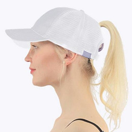 fitted ball caps wholesale Australia - 2019 Ponytail Baseball Cap Women Adjust Sport Casual Messy Bun Snapback Mesh Hat Casual Adjustable Sport Caps Drop