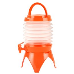 orange hydration packs UK - Gallon Collapsible Folding Water Dispenser Portable Drinks Container with Tap for Outdoor Camping Travelling 5L (Orange)