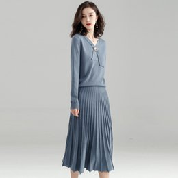 Korean sweater pants online shopping - Korean Style Spring Autumn Fashion Slim Casual Knitted Pleated Skirt Two Piece Set Women Long Skirt Thin Sweater