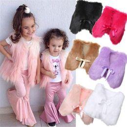 Faux Fur waistcoat vest jacket online shopping - Newest INS Winter Baby Girls Waistcoat Faux Fur Vest Colors Baby Waistcoat Girl Coat Outwear Jacket Kids Clothes Y
