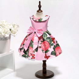 $enCountryForm.capitalKeyWord Australia - Pink Baby Kids Dresses Sleeveless Scoop Neck Short Floral Printed with Bow Girls Formal Dresses for Birthday Party Prom Wedding