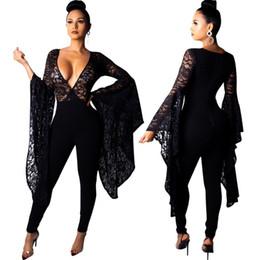 60d688db3551 Full length black lace bodysuit online shopping - Elegant sexy bodysuit  tracksuit rompers womens jumpsuit deep