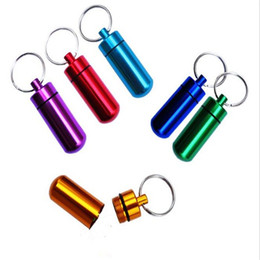 Mini Metal pill boxes online shopping - Mini Waterproof Pill Box Key rings Metal Keychain Storage Sealed Medicine Bottle Key chain Outdoor Travel Portable Bottles R349