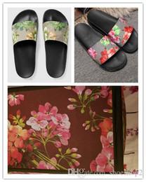 Brown leather slippers for men online shopping - Fashion slide sandals slippers for men women WITH ORIGINAL BOX Hot Designer flower printed unisex beach flip flops slipper