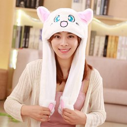 bacc05989dc Cartoon Hat Scarf Gloves Australia - Kawaii Plushed Girls Women Hat  Controllable Ears Cute Cartoon Animal