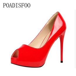 Patent leather Platform sexy shoes online shopping - 2019 Dress POADISFOO women pumps Fashion Simple High With Waterproof Patent Leather Sexy Slim Nightclub peep toe shoes PSDS