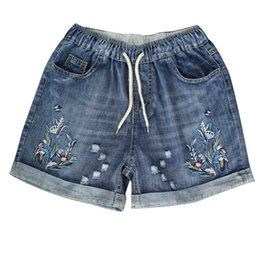 Wholesale womens jeans short size resale online - Womens High Waist Denim Shorts Spring Summer Ripped Female Plus Size Vintage Floral Embroidery Jeans Short Feminino