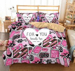 girls twin bedding sets 2019 - 3D Bedding Set High-heeled Shoes Print Duvet Cover Set Lifelike Bedclothes with Pillowcase Bed Set for Women Girls cheap