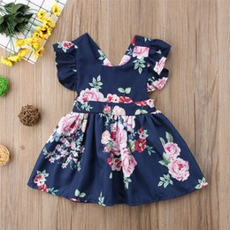 Baby Girls Flower Backless Dress Bambino in cotone Backless Floral Halter Dress Baby Sundress Kids Blue Flower Dress