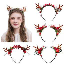 hair feather supplies UK - Christmas Elk Deer Horn Feather Hair Hoop Decoration Supplies Hairbands for Kids Party Hair Accessories free shipping