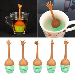 Discount black leaf tea Hot sales Funny Hand Gestures Tea Infuser Black Tea Strainer FDA Grade Silicone Loose Leaf Herbal Spice Holder Tea Brewi