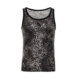 slim fit undershirts men UK - Leopard Print Sexy Shirt Men Summer Undershirts Men's Casual Slim Fit Undershirt O-Neck Fitness Bodybuilding Male Tops Clothing