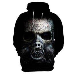 skull hoodies wholesale 2019 - 4XL 3XL 3D printing Mask skull head men fleece hoody Street fashion pullover hip hop popular men's hoodies cheap sk