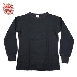 Mens Patterned Tees Australia - NON STOCK Waffle Pattern Knit Tee Heavyweight Mens Long Sleeve T-Shirts Slim