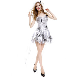 Women Costumes UK - Female Halloween sexy vampire bride costume light gray skirt role-playing game uniforms stage costumes