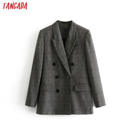 Women Wearing Double Breasted Suit Australia - Tangada Women Checked Double Breasted Suit Jacket Designer Blazer Nwe Arrival Women Blazer Pockets Work Wear Suit Outwear 3h33 J190409