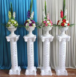 floor flower decoration Canada - Hollow Flower Design Roman Columns White Color Plastic Pillars Road Cited Wedding Props Event Decoration Supplies