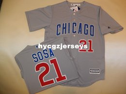 cool base jersey cheap Australia - Cheap baseball #21 SAMMY SOSA Cool Base Sewn shirt Jersey New GRAY Mens stitched jerseys Big And Tall SIZE XS-6XL For sale