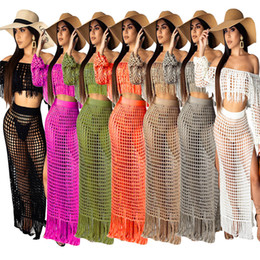 0db903a45 S-3XL Sexy Beach Suit Long Sleeve Beach Outfits Women Summer Two Piece Set  Casual Hollow Out Tassel Crop Top + Split Maxi Skirts Tracksuit C