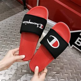 Sandal couple online shopping - Champions Embroidery Letters Sandals Fashion Logo Harajuku Slippers Unisex Summer Flat Thick Bottom AntiSlip Slipper Couple Flip flopsA52901
