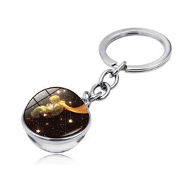 wholesale indian bags UK - 12 style Classical Fairy Tale keychain Double-sided Glass Ball Little Prince keyring Bag Car Keys Hanging pendant kid Gift Wholesale CJJ197