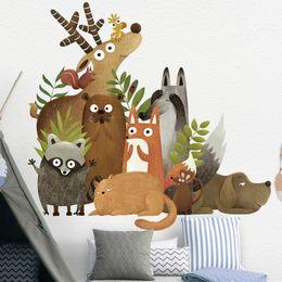 $enCountryForm.capitalKeyWord Australia - Forest Animals Elk Fox Rabbit Wall Stickers for Kids Room Children Wall Decal Nursery Bedroom Decor Poster Mural Art