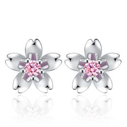 fde26916b Swarovski Zirconia Stud Earrings Australia - Fashion Cherry Blossoms Flower  CZ Crystal from Swarovski Ladies`