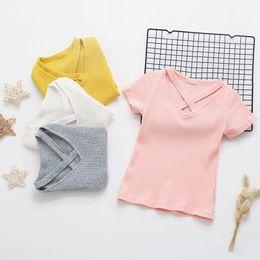 $enCountryForm.capitalKeyWord UK - 2019 Summer Solid Color Short Sleeve V Neck T-Shirt Baby Kids Cotton Blank Top Tees Girl T Shirt Tops Cute Toddler Infant 0-4Y