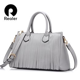 tassels black tote NZ - Realer 2017 New Brand Design Women Tote With Tassel Black gray white Women Handbag High Quality Bag Pu Leather J190619