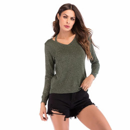 f4110dc49f325 Autumn Winter 2019 Casual Women T-shirts V-neck Long Sleeve Off Shoulder  Sexy Shirt Plus Size Knitted Stretch Fashion Women Tops